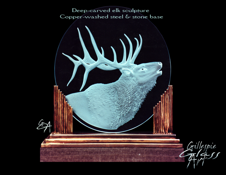 Gillespie Glass Art Elk Sculpture