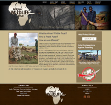 African wildlife trust NPO website.Focus on donations & education.