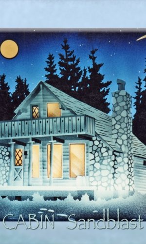 Gillespie Glass Art Winter Cabin