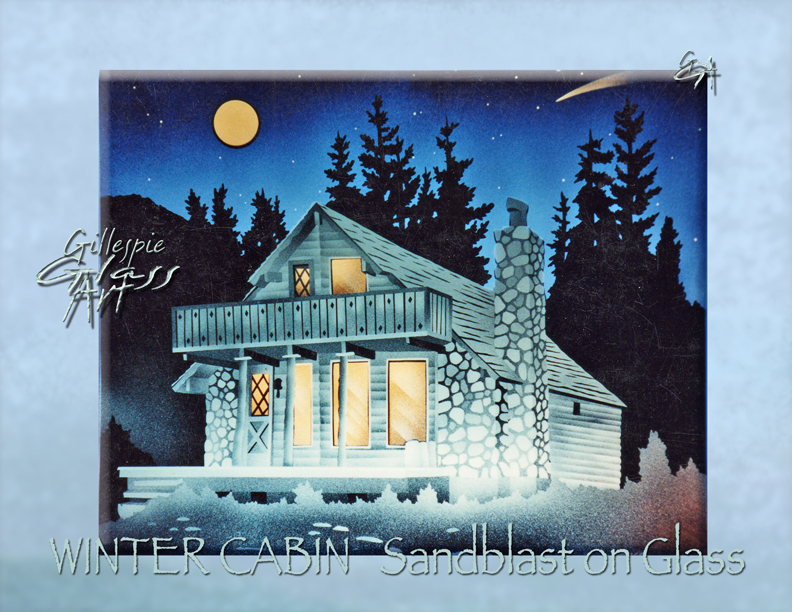 Gillespie Glass Art Winter Cabin